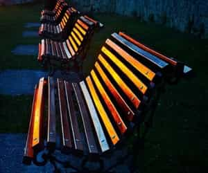 painted. and square benches image