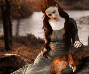 photo art and woman with little fox. image