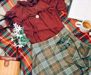 fashion, floral, and plaid image