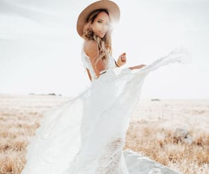 bride, hat, and dress image