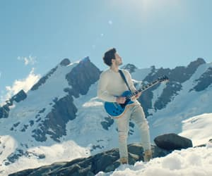 guitar, snow, and boy image