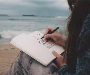 girl, sea, and drawing image
