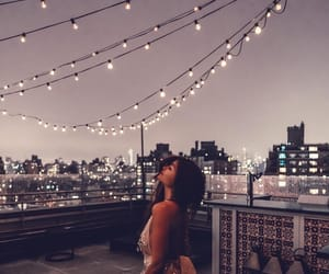 girl, lights, and night image