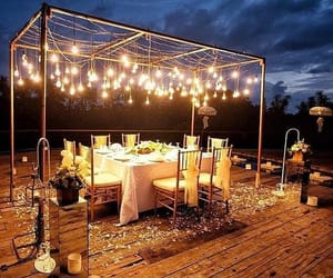 lights, dinner, and romantic image