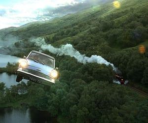 chamber of secrets, flying car, and hogwarts image