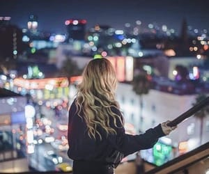 light, girl, and city image