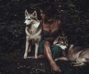 wolf, girl, and wild image