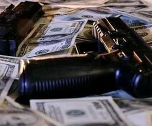 gun, money, and cash image