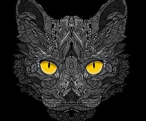 artwork, gato, and black cat image