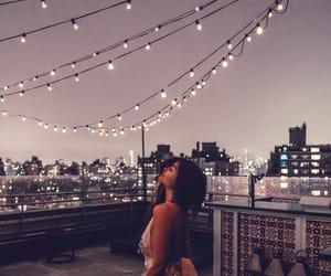 girl, lights, and night image