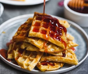 waffles, breakfast, and belgian waffles image