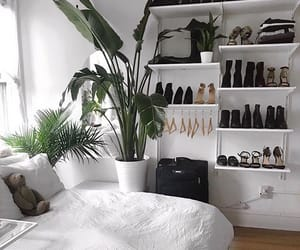bed, plants, and bedroom image