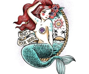 illustration, little mermaid, and tattoo image