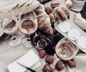 food, wine, and croissant image