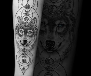 moon, tattoo, and wolf image