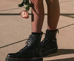 black, rose, and boots image