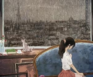 rain, drawing, and girl image