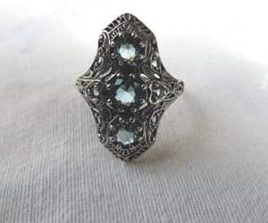 etsy, aquamarine ring, and art deco jewelry image