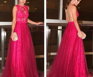 hot pink prom dress, open back prom gown, and puffy prom dress image