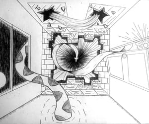 black and white, drawing, and perspective image