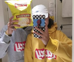 chips, couple, and fashion image