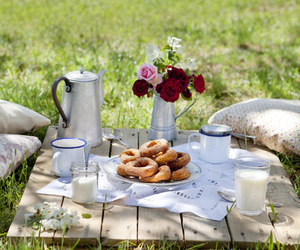 picnic, donuts, and flowers image