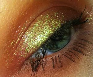gloss, green eye, and makeup image