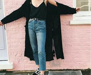 black cardigan, inspiration, and outfit image