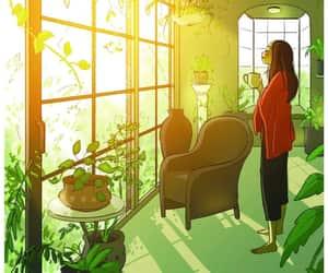 girl, plants, and art image