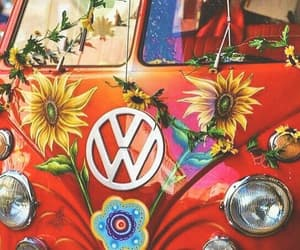 hippie, flowers, and red image
