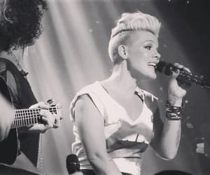 black and white, blonde, and concert image