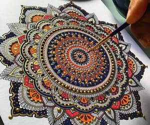 drawing, mandala, and painting image