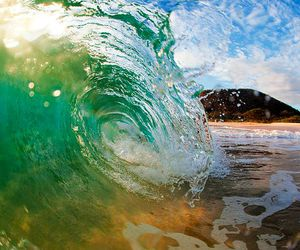 waves, beach, and beautiful image