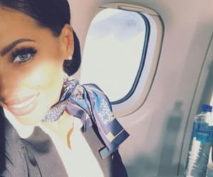 air hostess, airplane, and beauty image