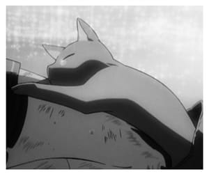 anime, black and white, and cat image