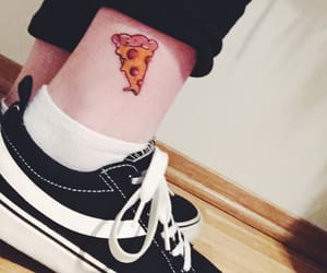 ink, tattoo, and pizza image