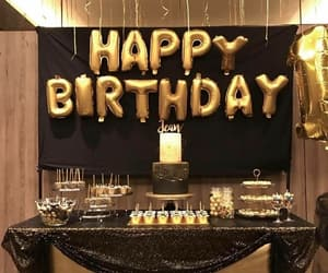 birthday, black, and gold image