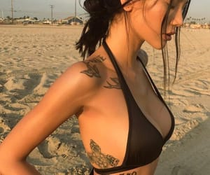 tattoo, beach, and girl image