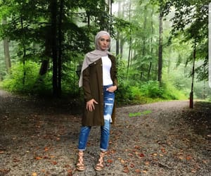 fashion, forest, and hijab image