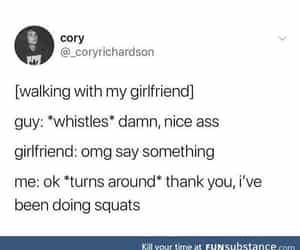 boyfriend girlfriend, squats, and nice ass image