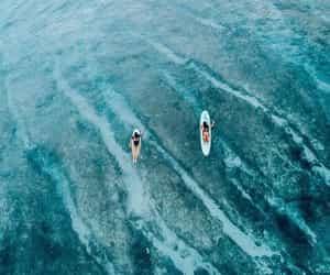 blue, paradise, and surf image