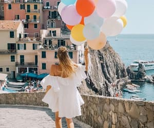 balloons, girl, and summer image