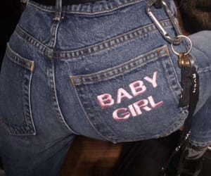 girl, jeans, and baby image
