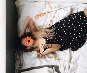 bed, black, and flowers image