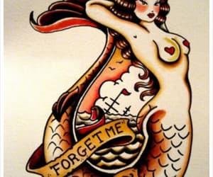 mermaid, oldschool, and tattoo image