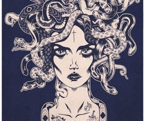 medusa, snake, and art image