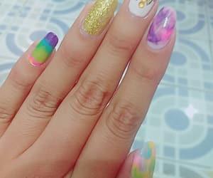nails, pink, and unicorn image