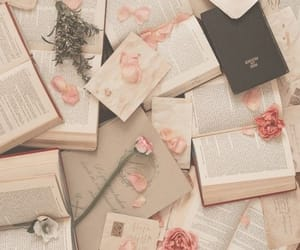 books, flowers, and pink image