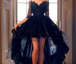 high low prom dress, black high low dress, and graduate prom dress image
