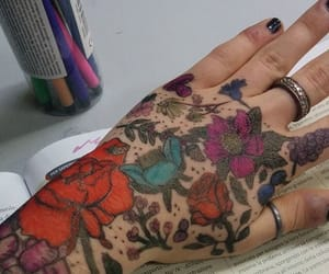 flower, hand, and Tattoos image